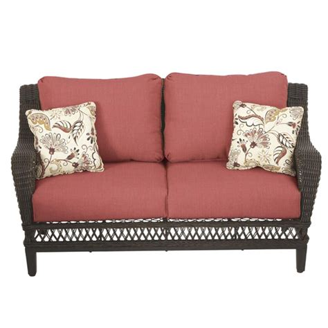 Patio Loveseat Cushion by Hton Bay Woodbury All Weather Wicker Outdoor Patio