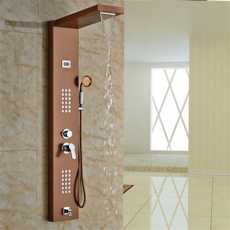 aspen rose gold massage shower panel system  shower