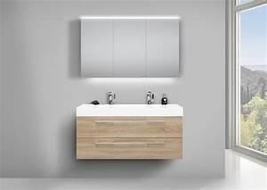 Doppelwaschbecken Mit Unterschrank Und Spiegelschrank : doppelwaschbecken 120cm badm bel eiche ~ Watch28wear.com Haus und Dekorationen