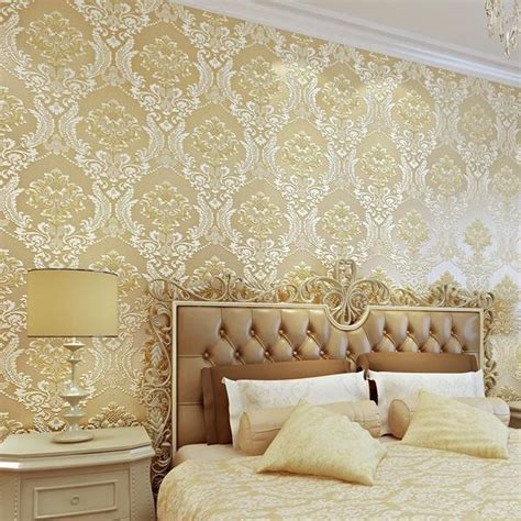luxury  damask wallpaper silver grey tv background wall