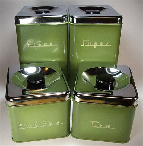 green kitchen canister set avocado green 70 39 s metal kitchen canister set by pantry