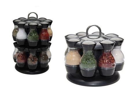 Spinning Spice Rack With 48 Jars by Spice Carousel Rotating 16 8 Pcs Herbs Condiment Storage