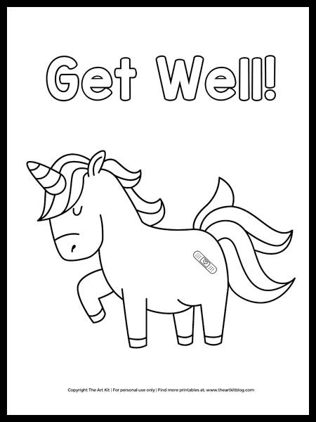 unicorn coloring page  printable   art kit
