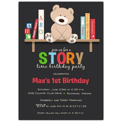 Story Time Birthday Invitations Paperstyle