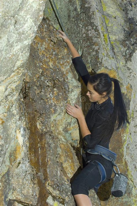 Pretty Young Woman Rock Climbing Stock Photo Image Of