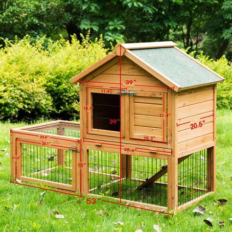 Indoor Wooden Rabbit Hutch by Pawhut 53 Wooden Rabbit Hutch Chicken Coop Small Pet