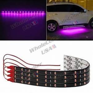 4pcs Pink Purple LED Strip Lights Interior Exterior Glow
