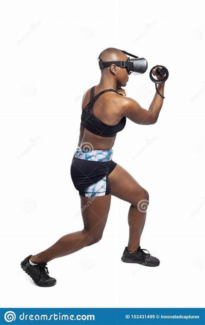 Boxing Vr Woman Headset Controllers Reality Virtual