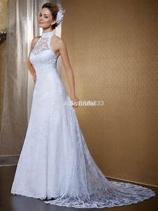 Luxury beaded high neck open back white lace wedding dress for High back wedding dress