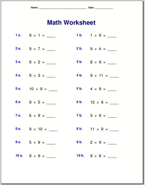 Free 9 Times Table Worksheets  Activity Shelter