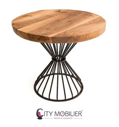 table ronde bois et fer forge table ronde en bois massif et fer forg 233 verlaine city mobilier