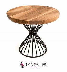 Table Ronde Cuisine : table ronde en bois massif et fer forg verlaine city mobilier ~ Teatrodelosmanantiales.com Idées de Décoration