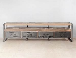 Meuble En Solde : meuble tv en bois recycl s avec 4 tiroirs m tal industryal ~ Teatrodelosmanantiales.com Idées de Décoration