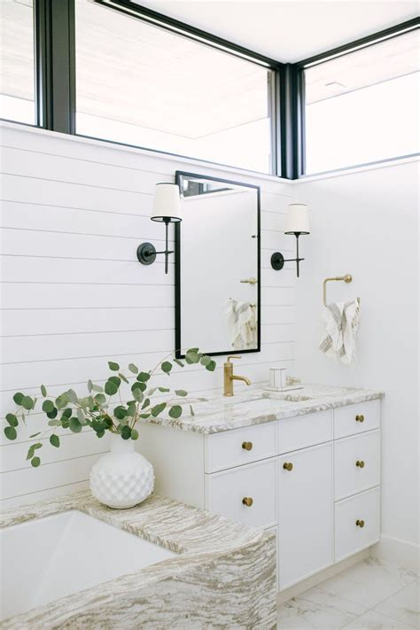 White Shiplap Bathroom by Bathroom Design Featuring White And Marble And Shiplap