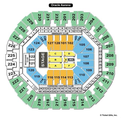 oracle arena oakland ca seating chart view