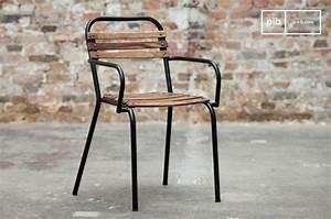 Chaise Industrielle Vintage : chaise de style industriel acier et bois massif pib ~ Teatrodelosmanantiales.com Idées de Décoration