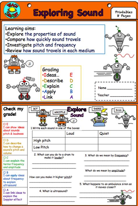sound and waves interactive notebook worksheets