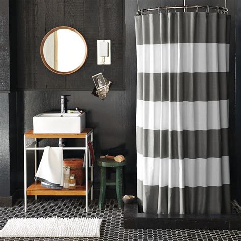navy and white striped curtains west elm bright smile west elm stripe shower curtain
