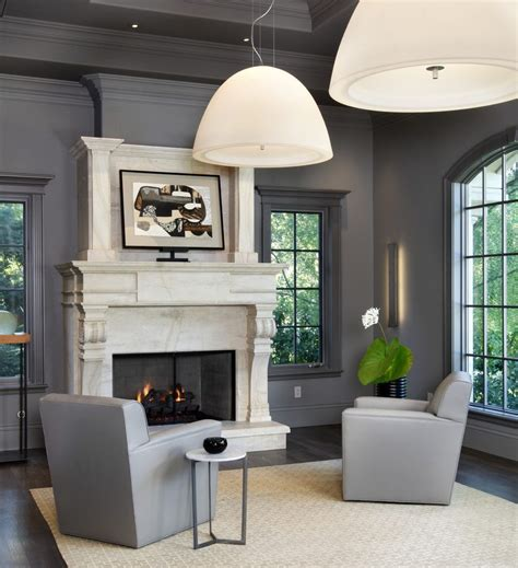 contemporary fireplace surround ideas gray walls living room transitional with grey walls