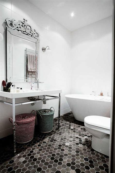 Black And White Hexagon Tile Bathroom 37 Black And White Hexagon Bathroom Floor Tile Ideas And