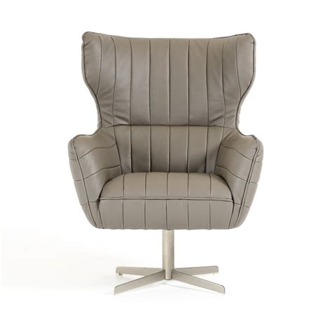 grey leather swivel accent chair with tufting el paso