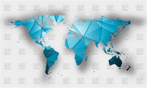 blue polygonal world map vector image  signs symbols