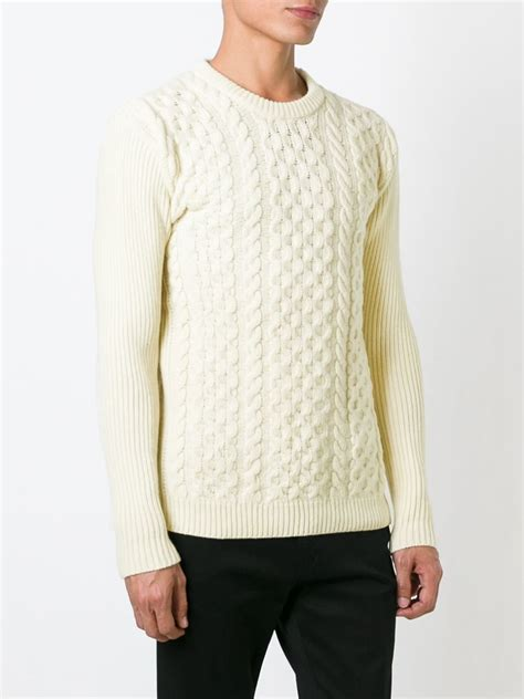 cable sweater mens ami cable knit sweater in white for lyst