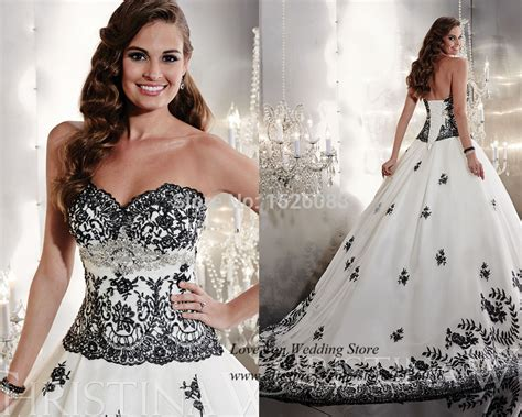Fancy Brand White And Black Wedding Dresses 2015 Lace