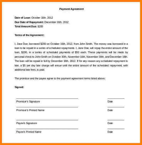 take car payments contract template 10 take car payment agreement form sles of paystubs