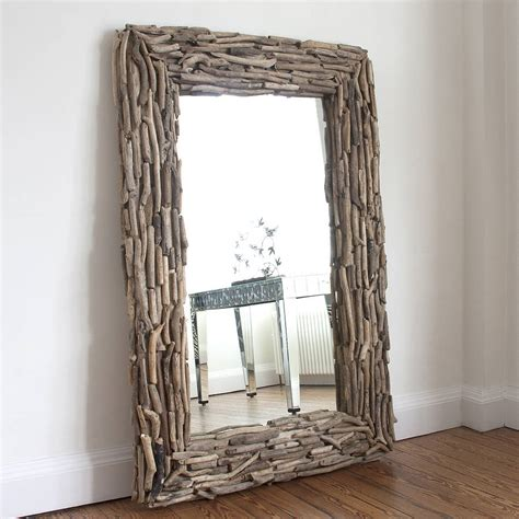 Large Rectangular Driftwood Mirror By Decorative Mirrors