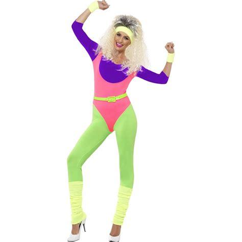 80er damen 80er damen kost 252 m sport buntes aerobic neon jumpsuit 80s workout anzug