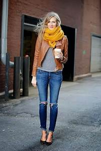 Adorable Brown Leather Jacket Ripped Jeans And Scarf Combination For Fall