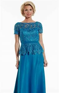 elegant blue lace short sleeve plus size mother of the With short mother of the bride dresses for summer wedding