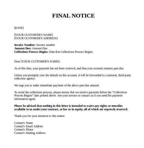 final notice letter templates   ms word