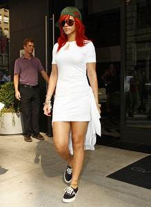Dress and sneakers Rihanna and Little white dresses on Pinterest
