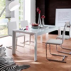 Esstisch Ausziehbar Weiß Hochglanz : esstisch esszimmertisch tisch 160x90 ausziehbar modern in hochglanz wei glas ebay ~ Watch28wear.com Haus und Dekorationen