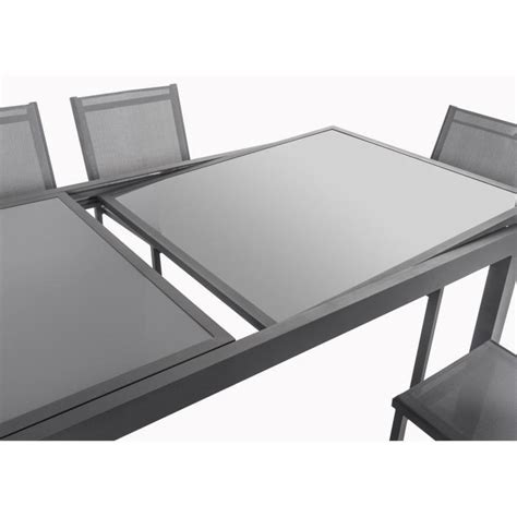 table et chaise de salon ensemble table extensible 200 300 cm 8 chaises gris