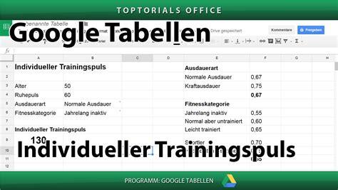 trainingspuls nach lagerstroem formel google tabelle