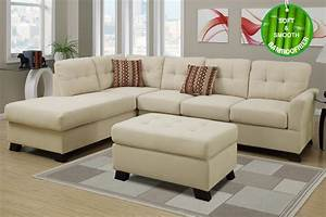 Beige fabric sectional sofa and ottoman steal a sofa for Barcelona sectional sofa ottoman in beige