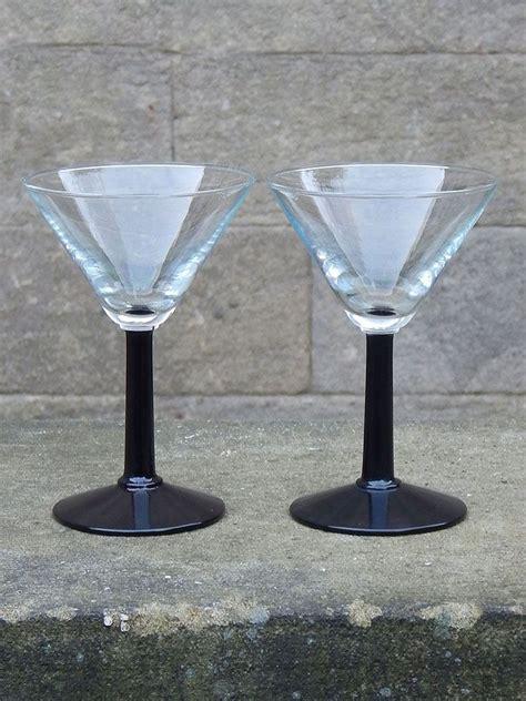 vintage martini set of 2 vintage black stem martini glasses vintage