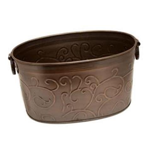 large copper tub large copper colored vine imprint beverage storage tub