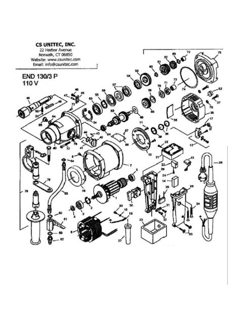 CS Unitec Electric Core Drill Schematics: END 130/3P