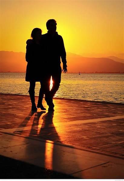 Couple Romantic Sunset Wallpapers Cartoon Couples Sea