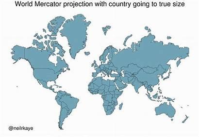 True Mercator Map Country Each Maps Reddit