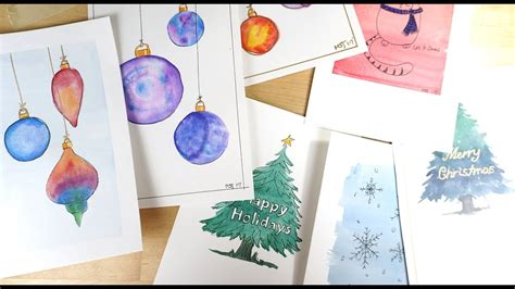 youtube watercolor christmas cards tutorials watercolor cards in wash ornaments tutorial