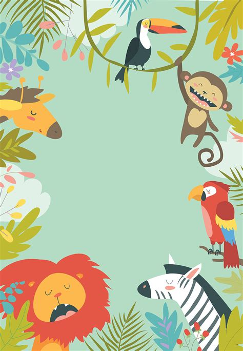 wild animals birthday card   island