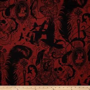 After Dark Skull & Spider Red - Discount Designer Fabric