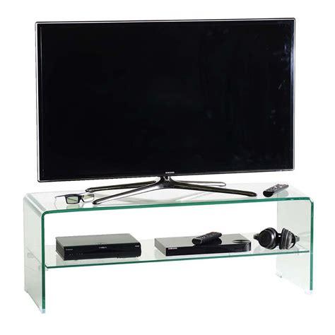 porta tv cristallo porta tv glass110 in cristallo curvato trasparente 110 cm