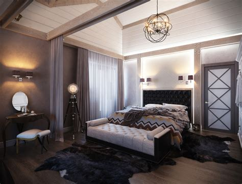 Дизайн спальни в доме (35 фото