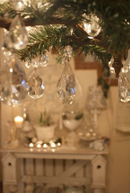 add pine branches and small hanging crystals to a